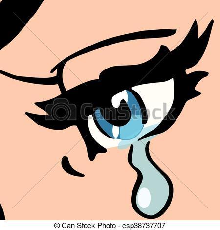 Vektor Clipart von blaues, Nahaufnahme, frau, weinen, augenpaar.