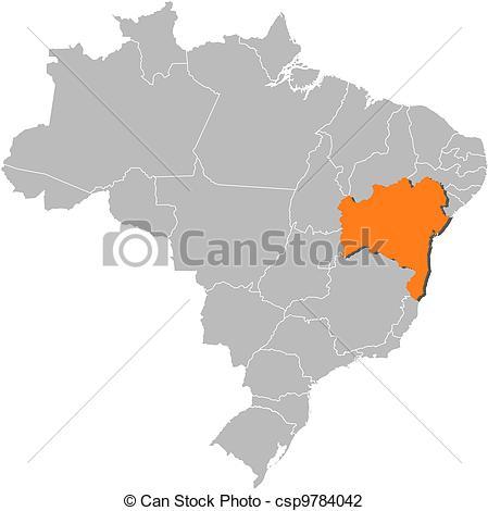 Vector Illustration of Map of Brazil, Bahia highlighted.