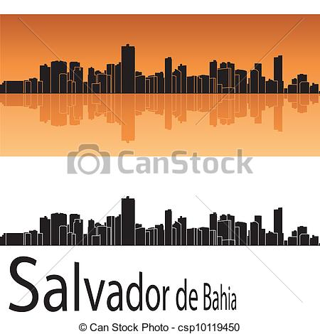 Clipart Vector of Salvador de Bahia skyline in orange background.