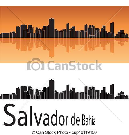 Clipart Vector of Salvador de Bahia skyline in orange background.