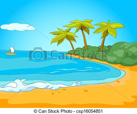 Clipart Vector of Seafront Harbor. Cartoon Background. Vector.