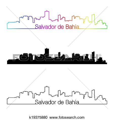 Clipart of Salvador de Bahia skyline linear style with rainbow.