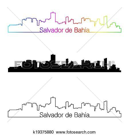 Clipart of Salvador de Bahia skyline linear style with rainbow.