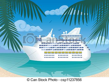 Clipart vectorial de crucero, barco, amarra, en, tropical, bahía.