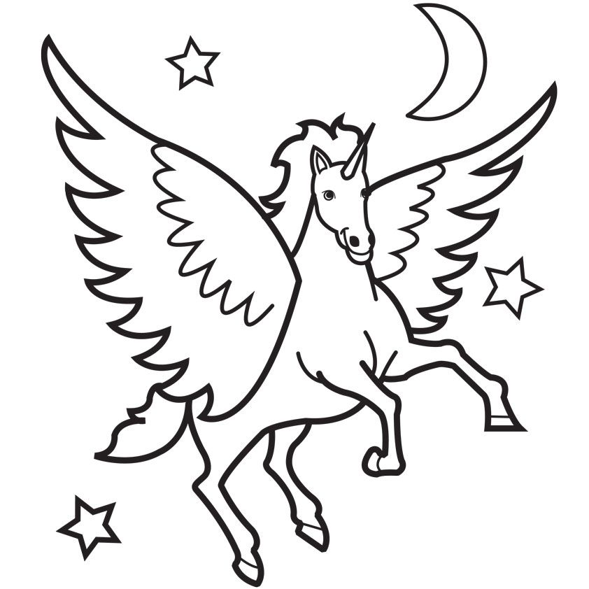 Pegasus Coloring Pages For Kids.