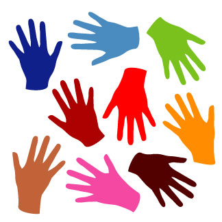 Colored Hands Clipart.