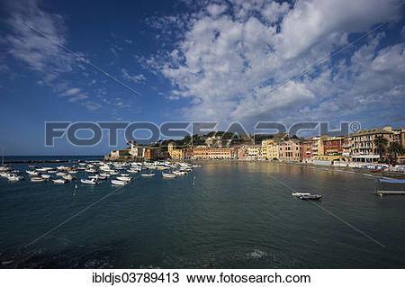 """Stock Photo of """"Townscape, harbor, Baia di Silenzio, Sestri."""