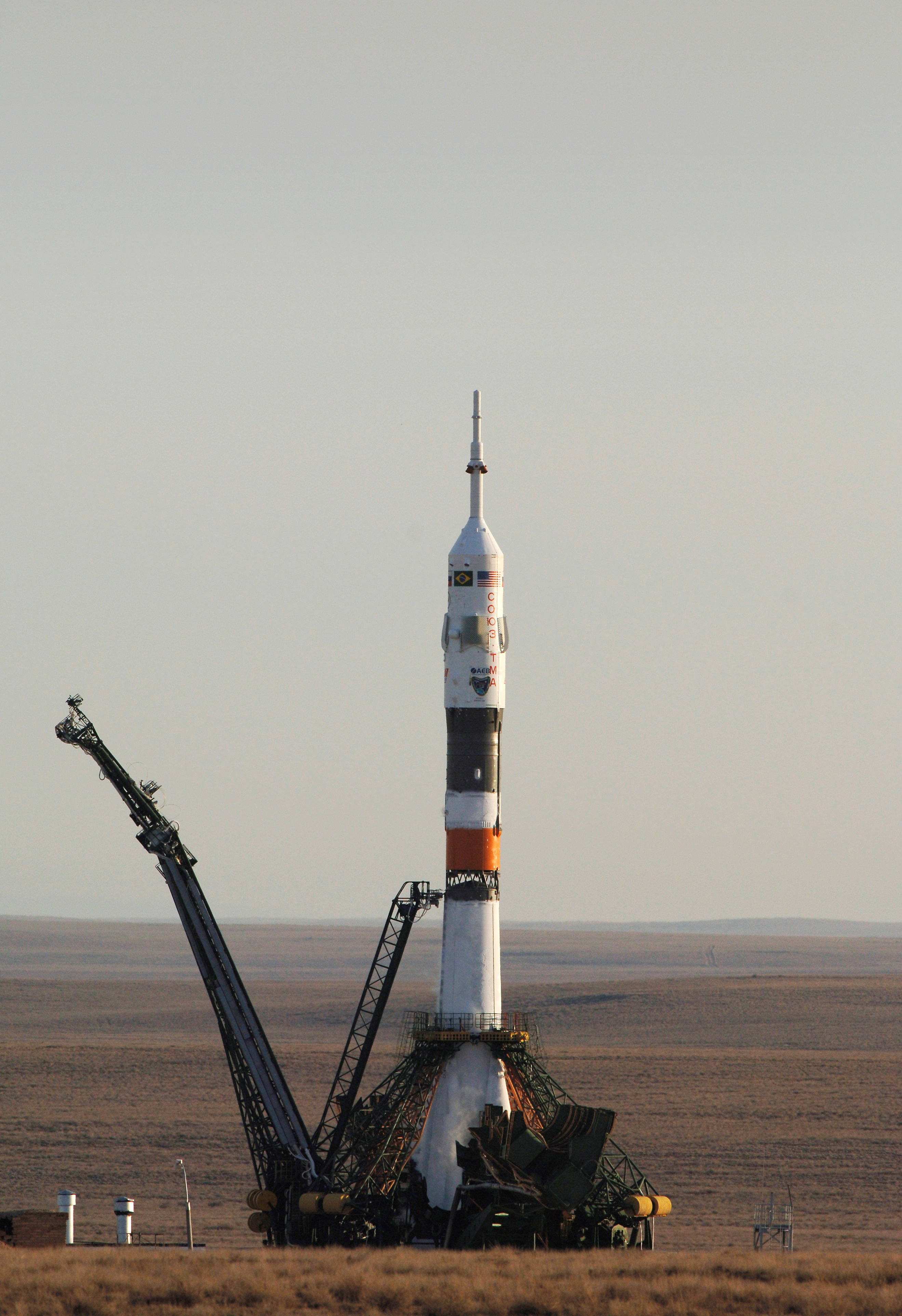 Stock Photograph of the Soyuz Rocket at the Baikonur Cosmodrome.