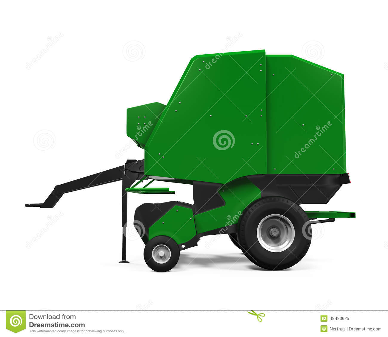 Tractor and baler clipart.