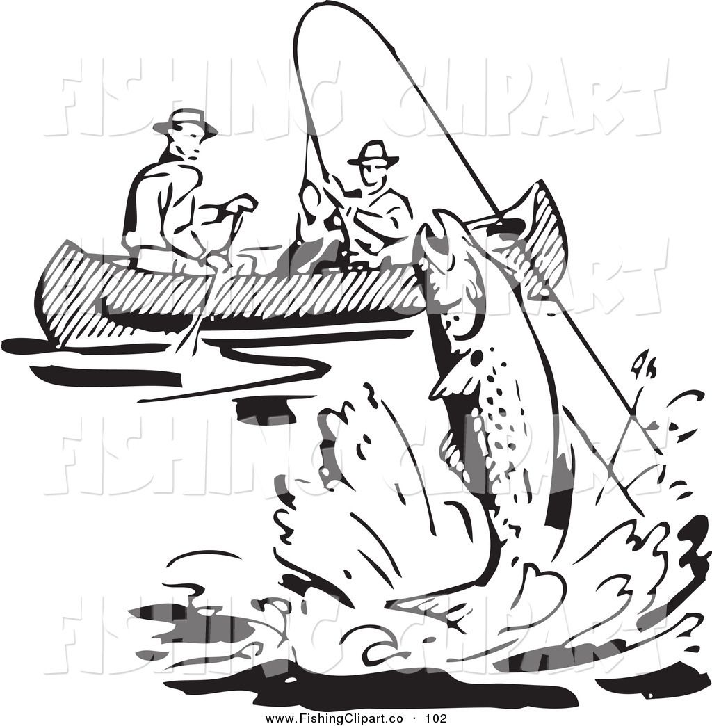 Clip Art of a Retro Black and White Men Fishing in a Boat, a.