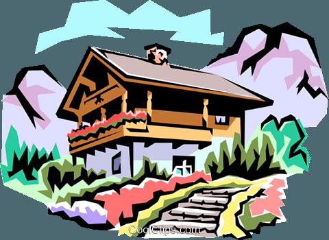 瑞士小屋免版税矢量剪贴画插图.