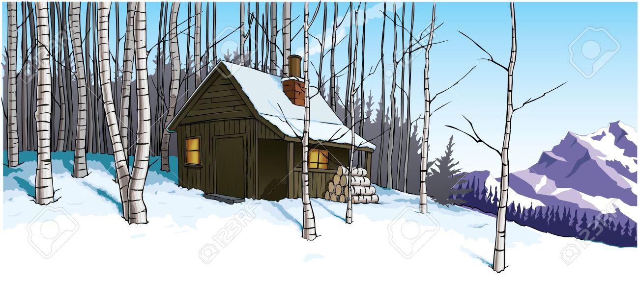 Snow Scène Avec Cabane Retraite Banque D'Images Et Photos Libres.