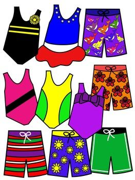 Bathing suit clip art * color and black and white.
