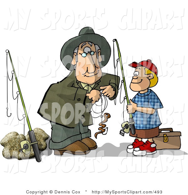 Sports Clip Art of a Grandpa Baiting Grandson's First Fishing Hook.
