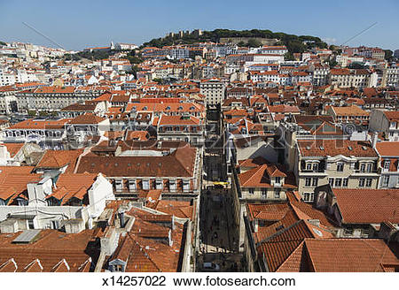 Stock Photo of Lisbon, Portugal. Baixa and Castelo de Sao Jorge.