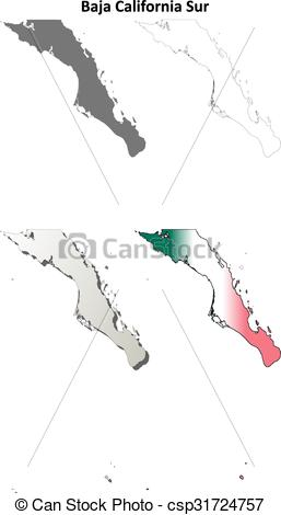Clipart Vector of Baja California Sur outline map set.