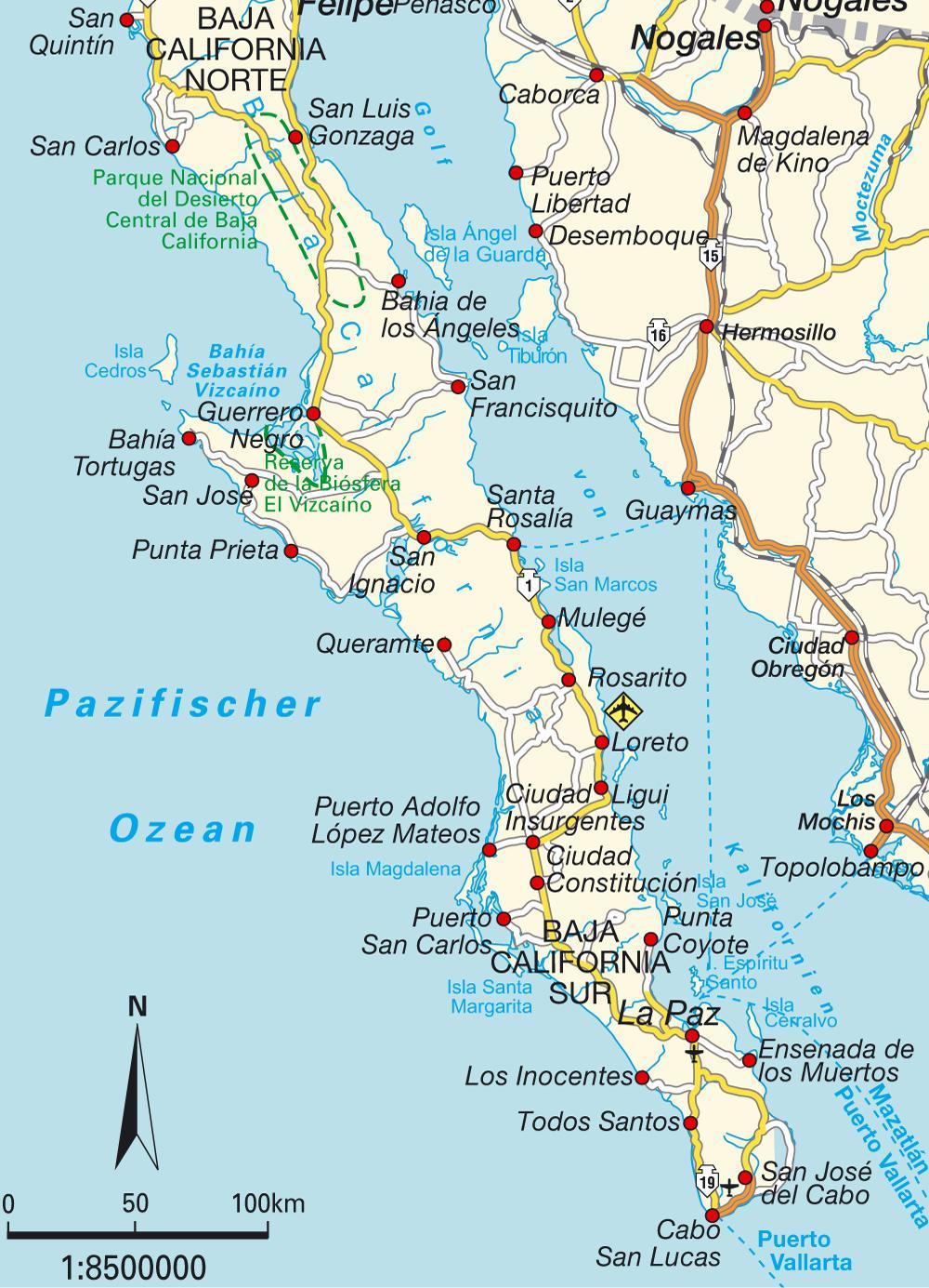 Map Baja Mexico.