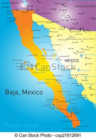 EPS Vectors of baja california vector color map csp21612691.