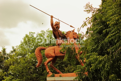 Statue Of Baji Rao Peshwa In Shaniwar Wada Pune Stock Photo.