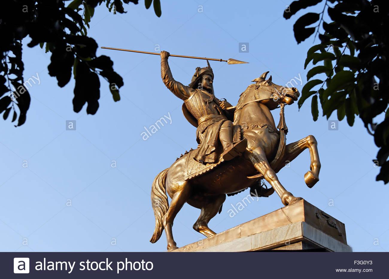 Statue Of Senior Bajirao Peshwa ; Pune ; Maharashtra ; India Stock.