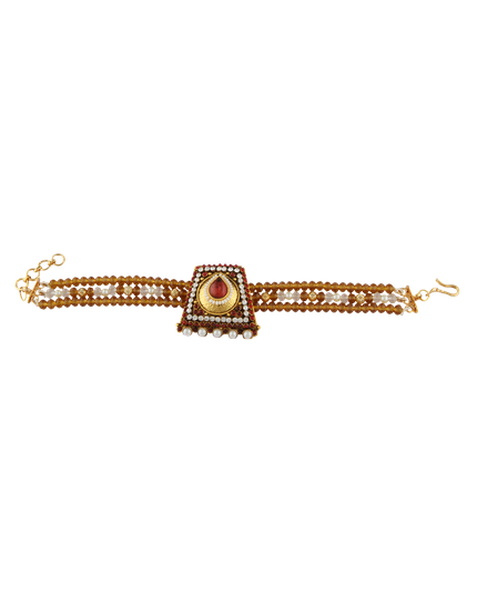 Golden Colour Designer Stylish Red Colour Stone With Beads Armlet/Bajuband  For Women/Girls.