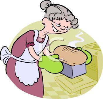 Cartoon of a Grandma Baking Bread.