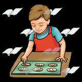 A Beka Book :: Clip Art :: Boy Baking—cookies on cookie sheet.
