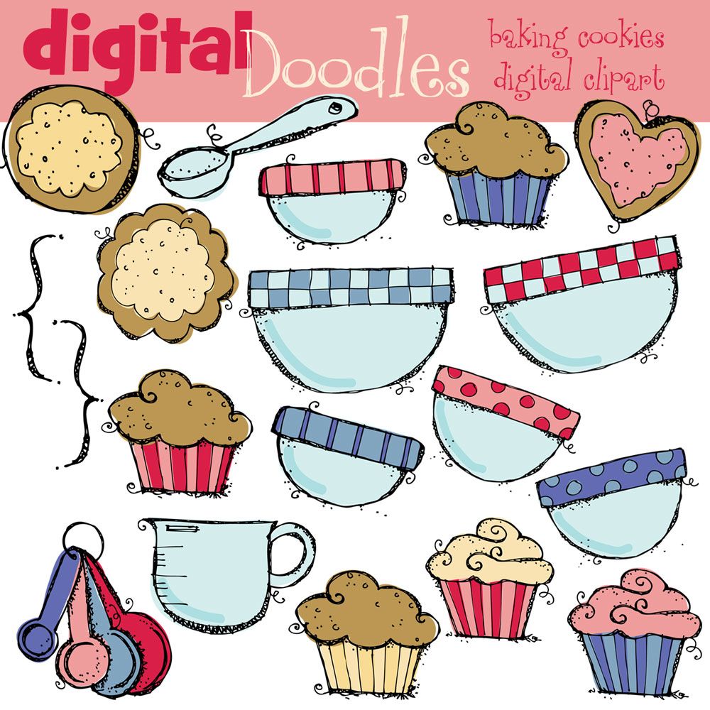 Baking Cookies Digital Clipart.