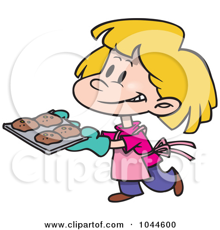 girl baking with mom clipart.
