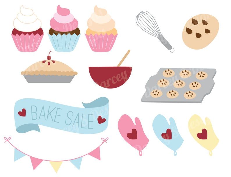 Bake Sale Clipart Set Instant Digital Download Set of 13.