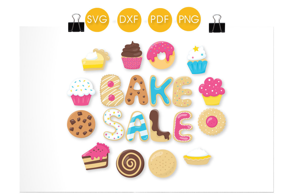 Bake Sale Goodies SVG, PNG, EPS, DXF, cut file By PrettyCuttables.