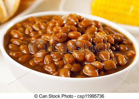 Stock Photos of Fresh Homemade BBQ Baked Beans on a background.