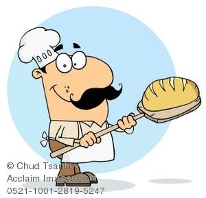 Clip Art Illustration of A Smiling Baker Baking a Loaf of Bread.