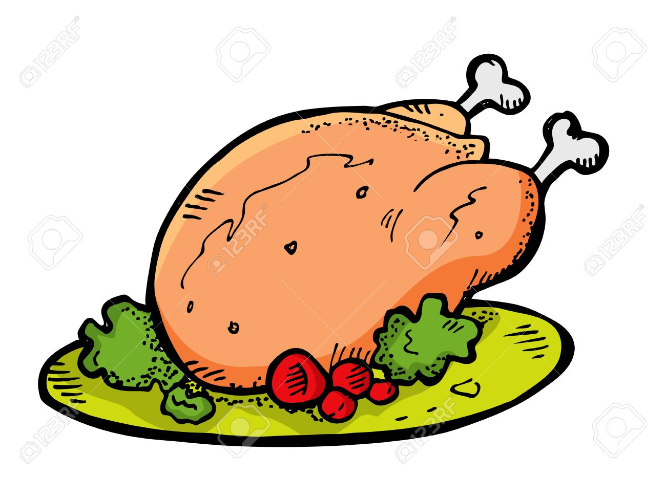 Baked chicken clipart.