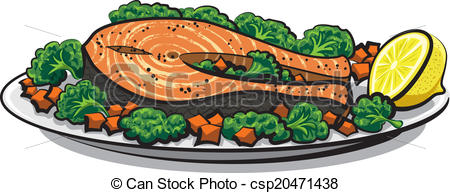 Vector of baked fish csp16960881.