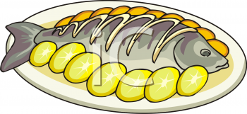 Cooked Meat And Fish Clipart.