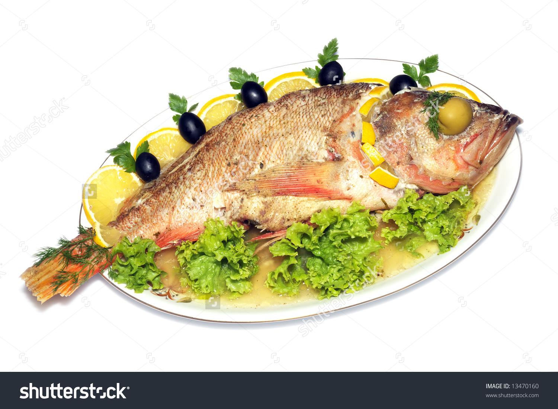 Baked Fish Isolated Stock Photo 13470160.