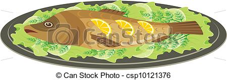 Vectors Illustration of Dish with the baked fish.