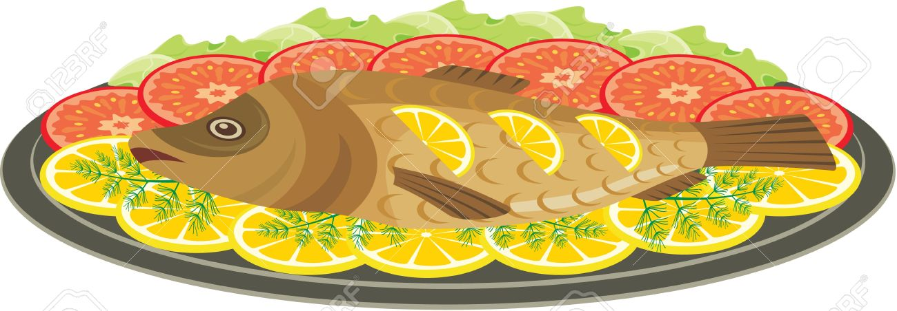 Grilled fish clipart.