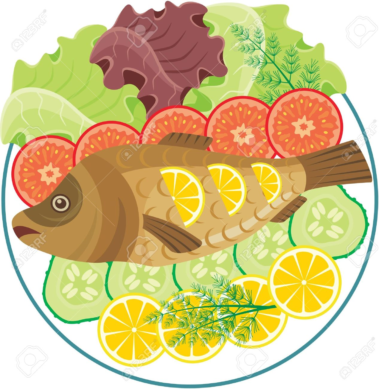 Dish With The Baked Fish Royalty Free Cliparts, Vectors, And Stock.