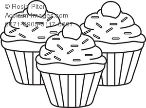 Cupcakes Clipart Black And White.