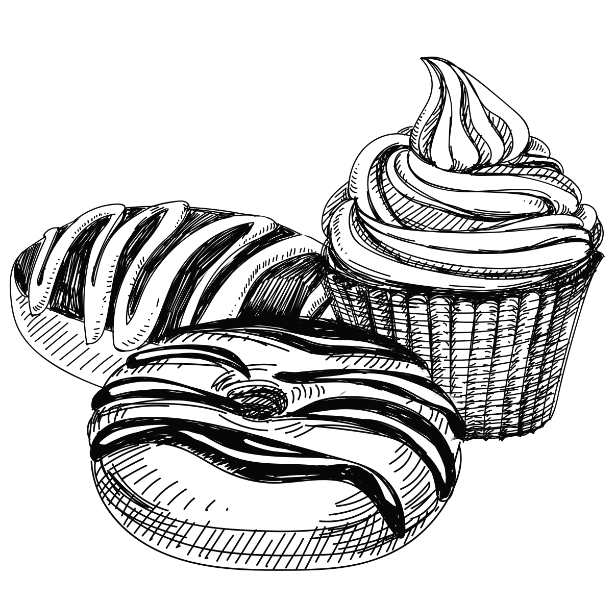 Baked goods clipart black and white, Baked goods black and.