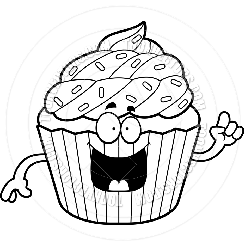 Cupcake Clipart Black And White Free.