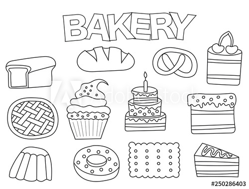 Bakery set of icons and objects. Hand drawn doodle baking.