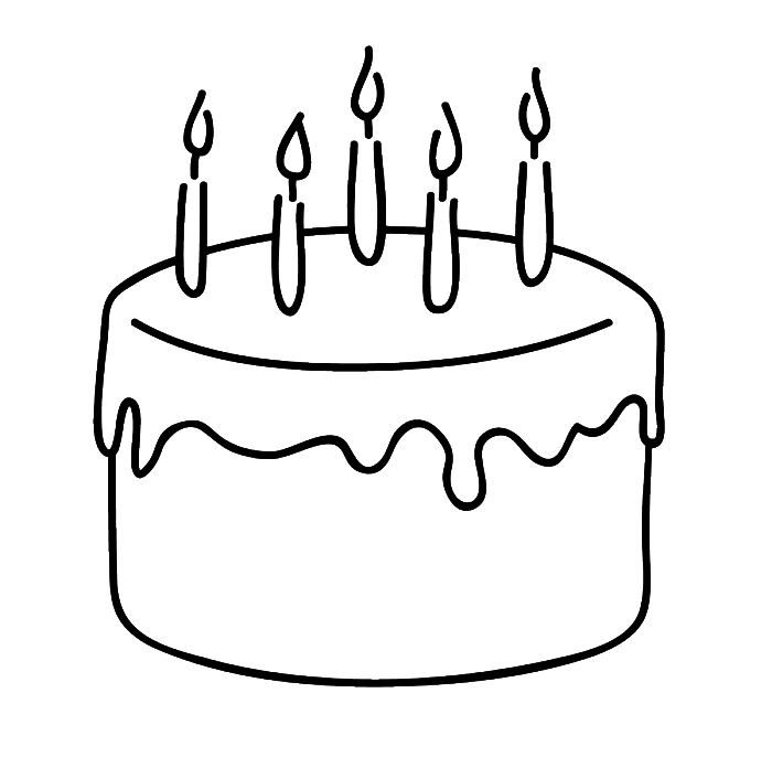 Birthday Cake That Is Simple And Attractive Coloring Page.