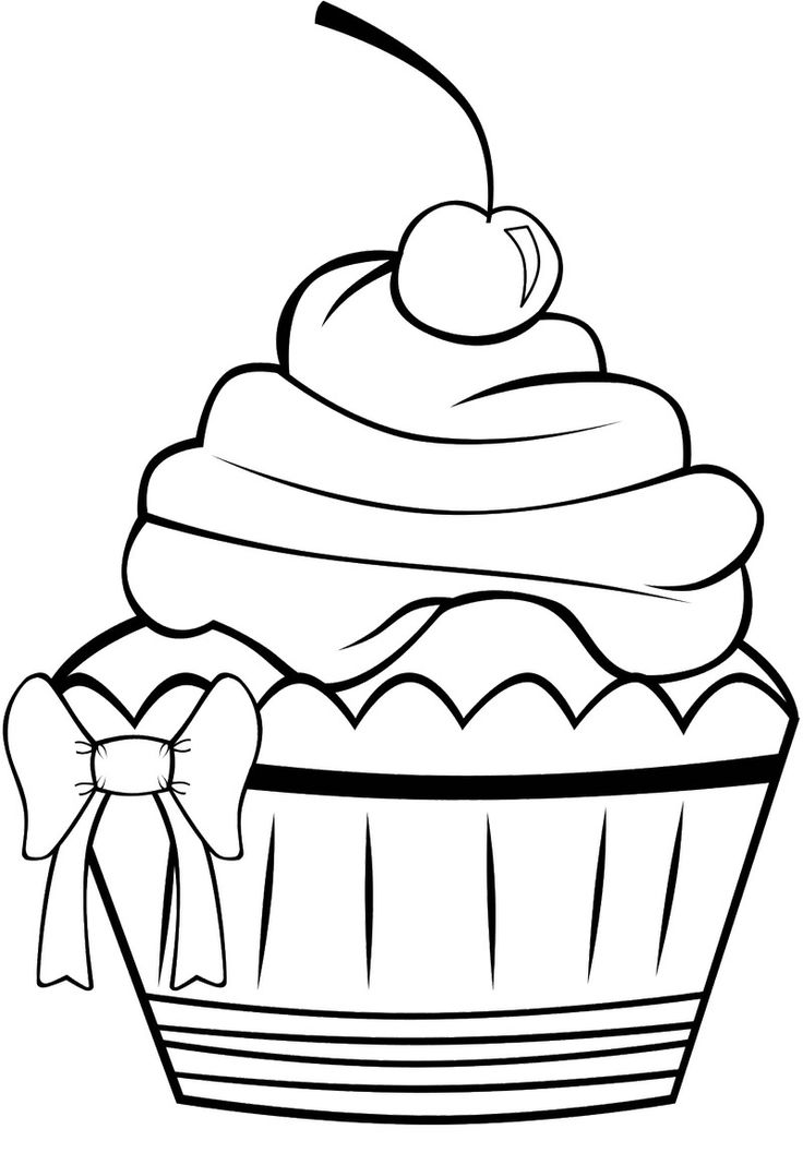 Cute Cupcake Coloring Page.