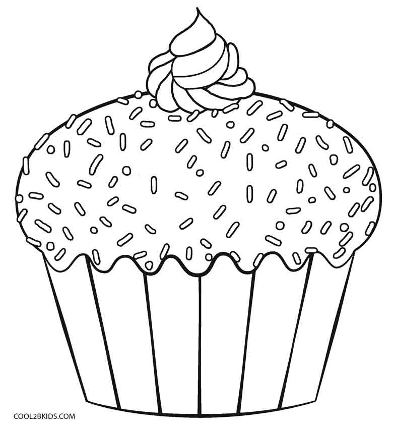 Free Printable Cupcake Coloring Pages.