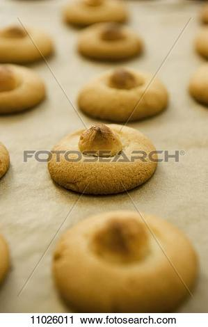 Stock Photography of Macadamia nut biscuits on baking paper.