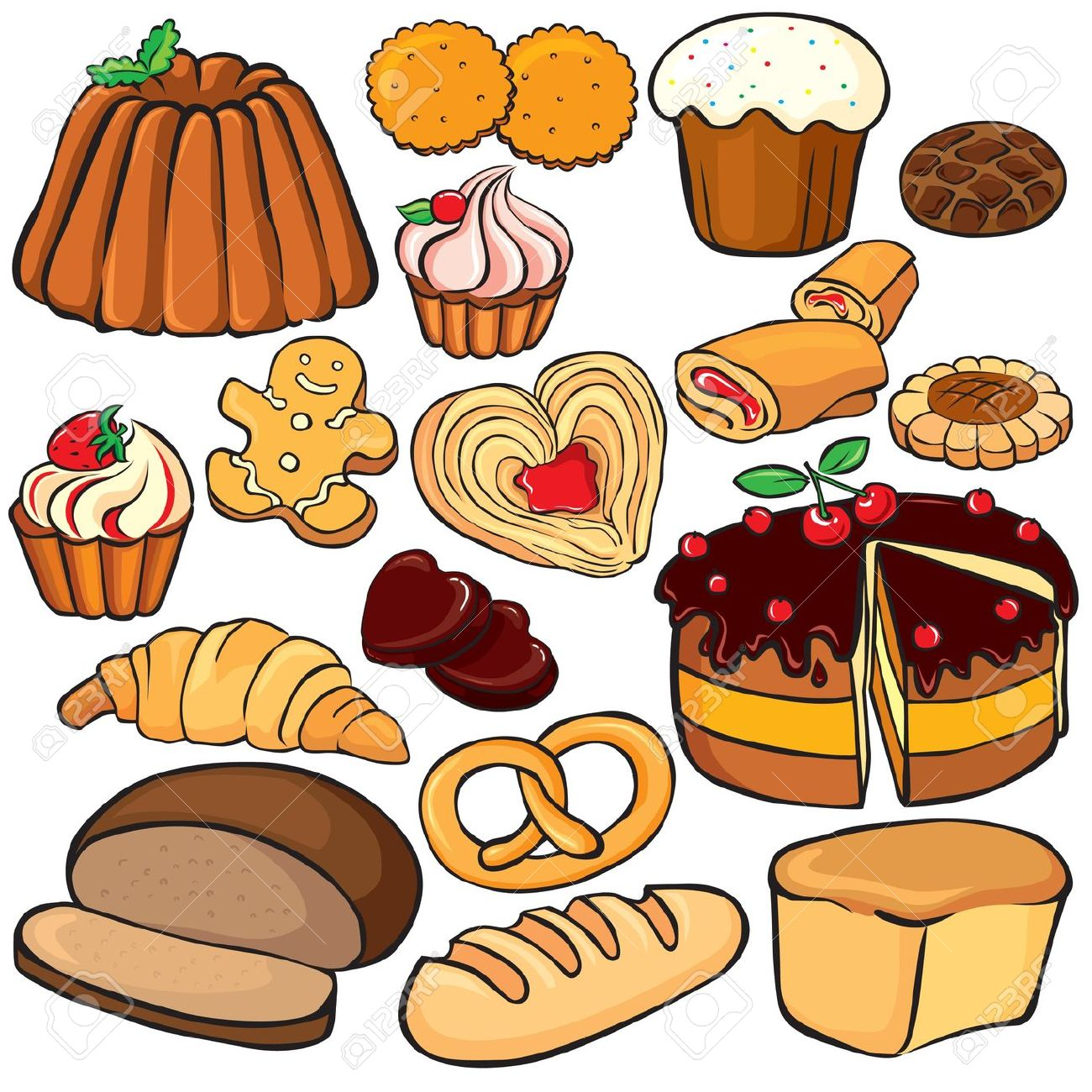 Baking And Sweets Icon Set Isolated On White Royalty Free Cliparts.