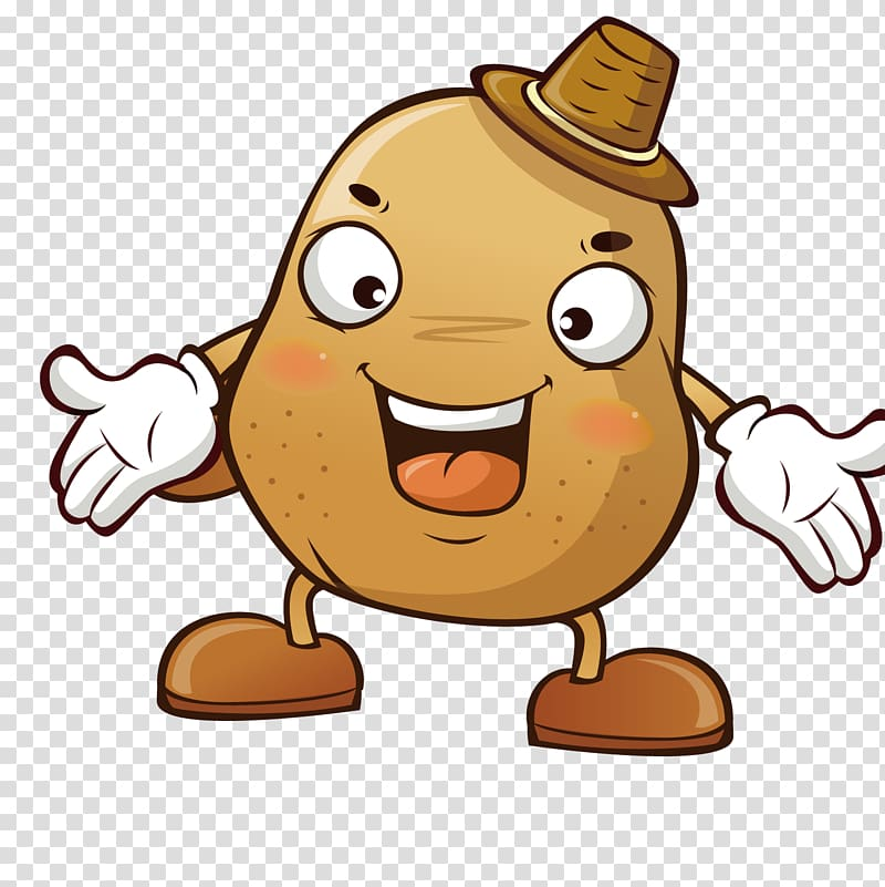 Potato with brown hat animated illustration, Baked potato Sweet.
